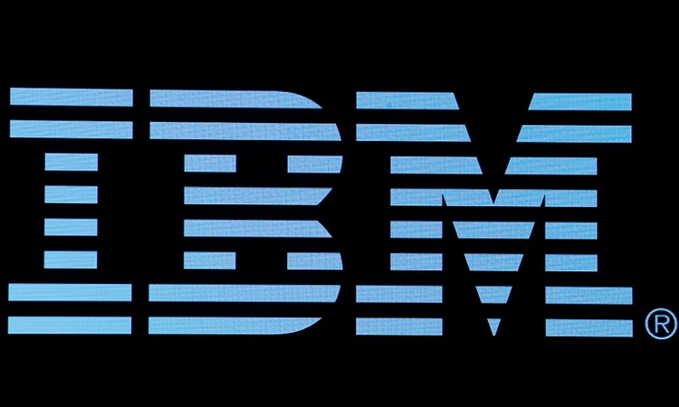 FILE PHOTO: The logo for IBM is displayed on a screen on the floor of the NYSE in New York