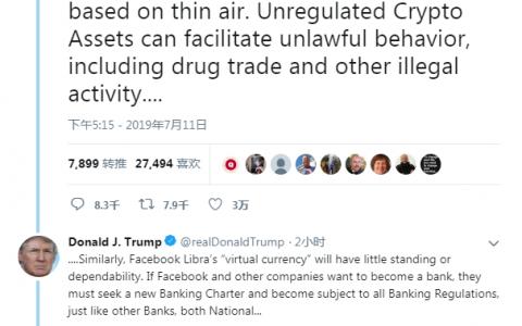 特朗普发推文反对加密货币,特别是Libra和BTC