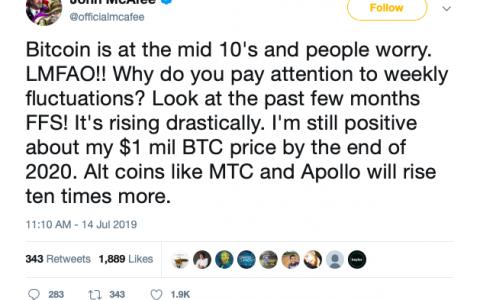 John McAfee:到2020年底,比特币价格仍将达到100万美元